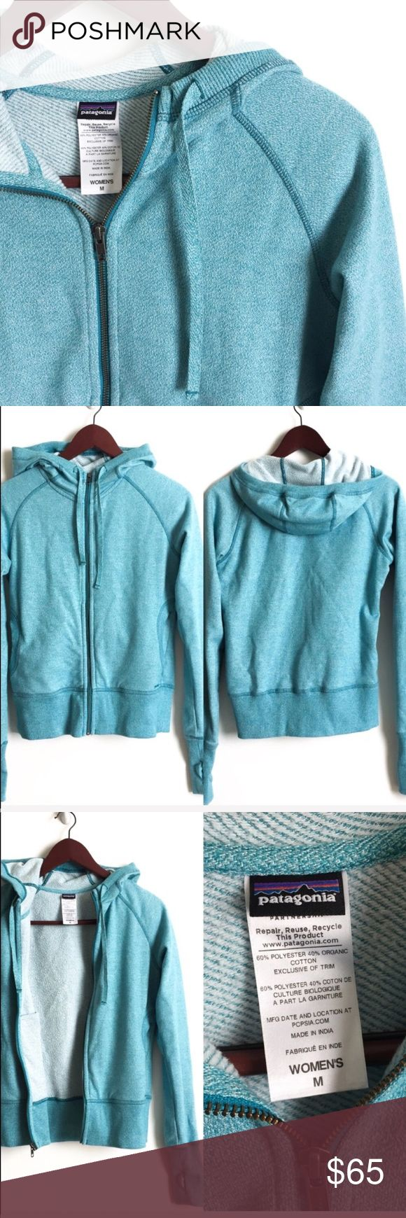 Patagonia Sweater Jacket ▫️Patagonia Hoodie Jacket ▫️Color: Blue (slightly different in pictures due to camera quality and lighting) ▫️Material: Organic Cotton, Polyester  ▫️True to Size ▫️Excellent Preowned Condition 🚫No Trades🚫 Patagonia Jackets & Coats