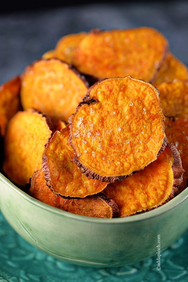 Sweet Potato Chips Recipe - Make these delicious chips in a snap! Great to pack for camping trips, on-the-road snacks and healthy noshin'! // addapinch.com