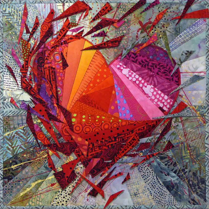 Heart Bursting With Love - quilt by Nancy Messier (would work as a collage, methinks...)