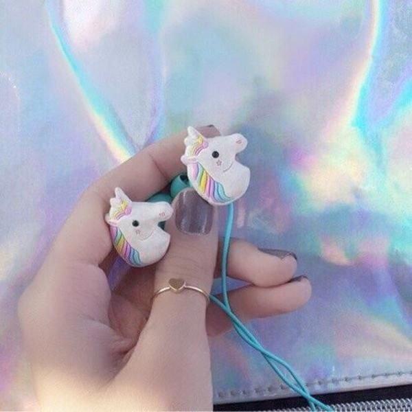 - Perfect for the Unicorn in your life! - Mint-green cord - Works with any device that has a headphone jack (iPhone, Android, Laptops, etc.) - Built-in microphone - Free Worldwide Shipping + 100% Mone
