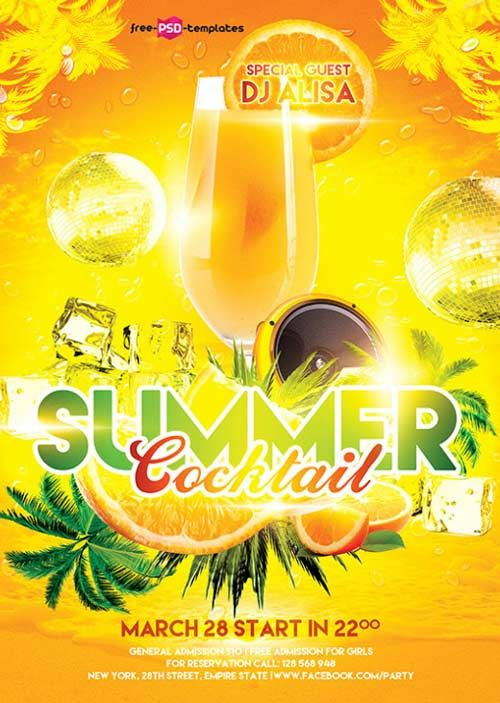 Free Summer Cocktail Flyer Template - http://freepsdflyer ... Party Flyer Design