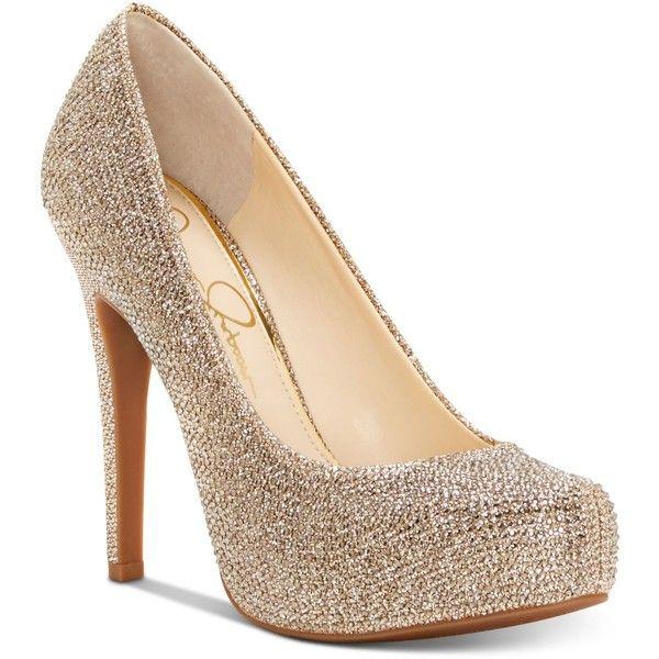 Jessica Simspon Parisah Platform Pumps ($62) ❤ liked on Polyvore featuring shoes, pumps, gold sparkle, platform stilettos, gold pumps, gold sparkly shoes, glitter pumps and stiletto pumps