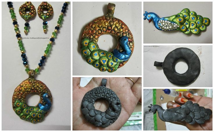 M-seal peacock pendent earrings set and brooch Easy Craft Ideas