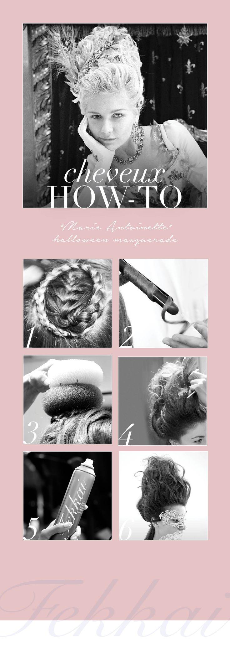 MARIE-ANTOINETTE Halloween Look: Create braid using the top layer of hair. Pin…