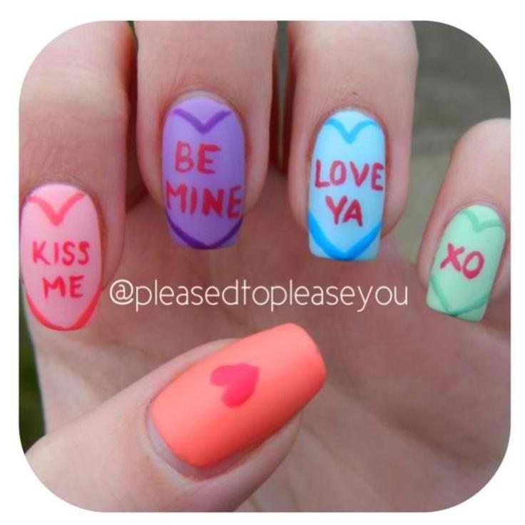 Valentines Day Nails Seasonal Nail Art Pinterest