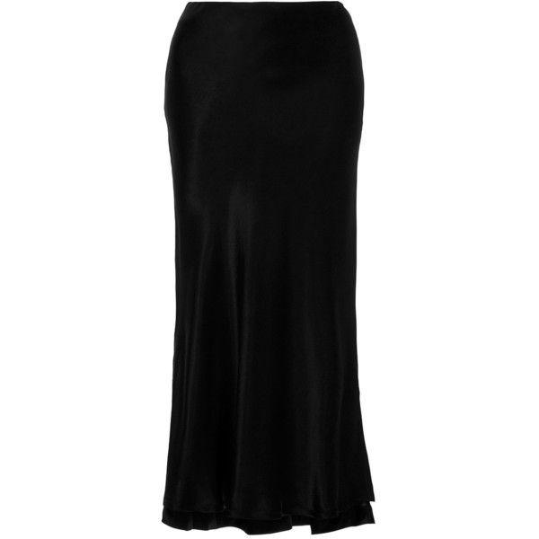Protagonist     Textured Charmeuse Bias Slip Skirt (€390) ❤ liked on Polyvore featuring skirts, protagonist, black, slip skirt and textured skirt