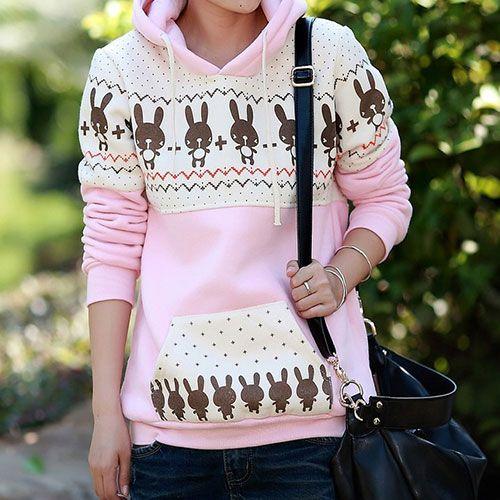$31.99 [grxjy560443]Cute Chic Leisure Cartoon Rabbit Print Sweatshirt