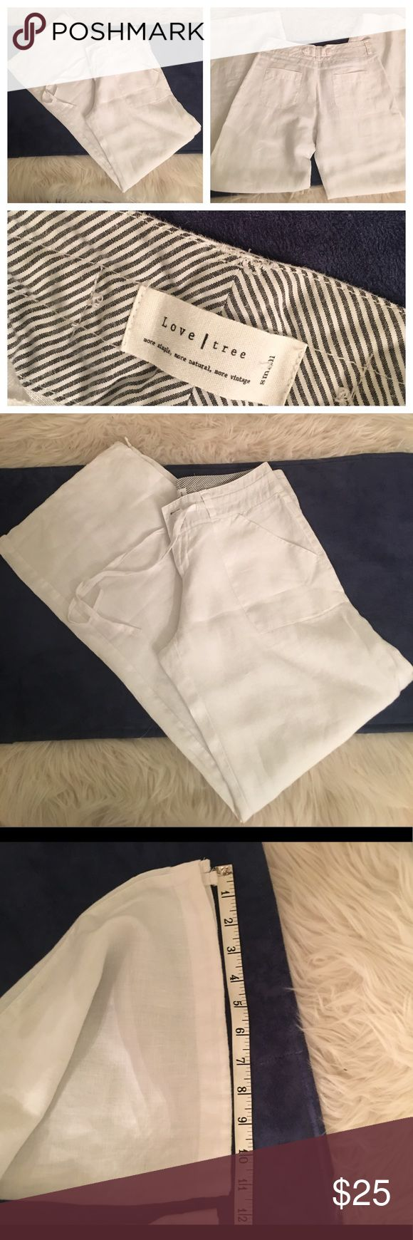 "Love Tree 100% linen wide leg trouser NWOT Love Tree 100% linen wide leg pants. Perfect condition. Bright white. Lightweight. 11"" leg opening. 31.5"" inseam. Drawstring at leg opening. 9"" rise Love Tree Pants Wide Leg"