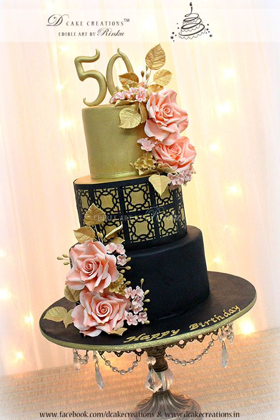Three tier Black & Gold Cake with sugar Roses for 50th Birthday.