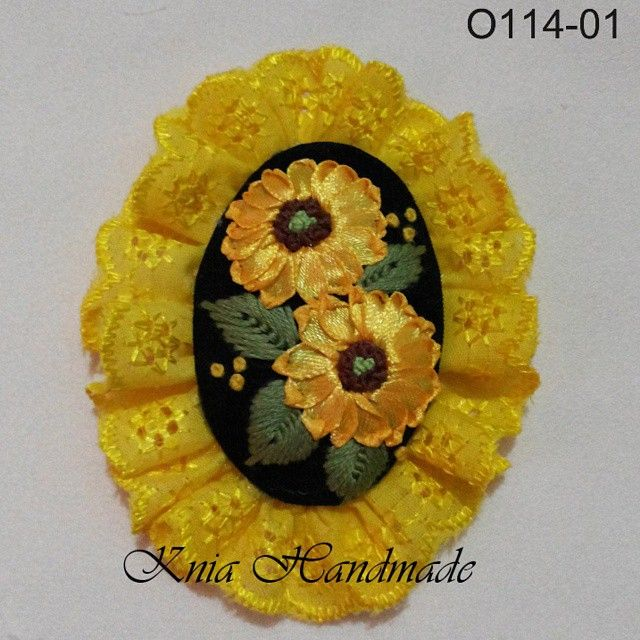 #EmbroideredBrooches #Embroidery  #handmadeBrooches  #RibbonEmbroidery #StitchEmbroidery