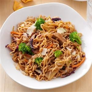 Pork & Ramen Stir-Fry Recipe -I put a bit of a spin on a typical stir-fry that you'd normally serve over rice. Ramen noodles are quick to sub in for the rice and I find bagged coleslaw mix gives the dish a good crisp-tender bite along with some fresh broccoli. —Barbara Pletzke, Herndon, Virginia