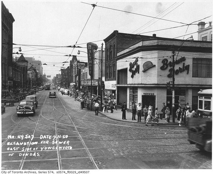 N/E corner of Yonge-Dundas. 1950
