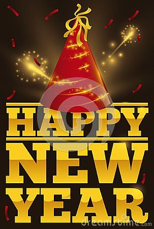 Poster with festive red hat, confetti and fireworks display over golden text with greetings for New Year celebration.