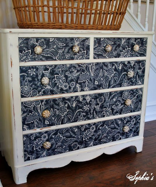 Dresser Makeover With Paint & Fabric Covered Drawers...Sophia's Decor.  This is such a stunning transformation.