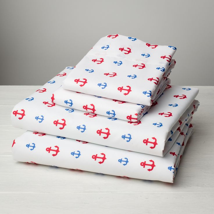Nautical Anchor Bed Sheets - Classic Red, White & Blue, nautical bedding, anchor sheets, nautical bedroom
