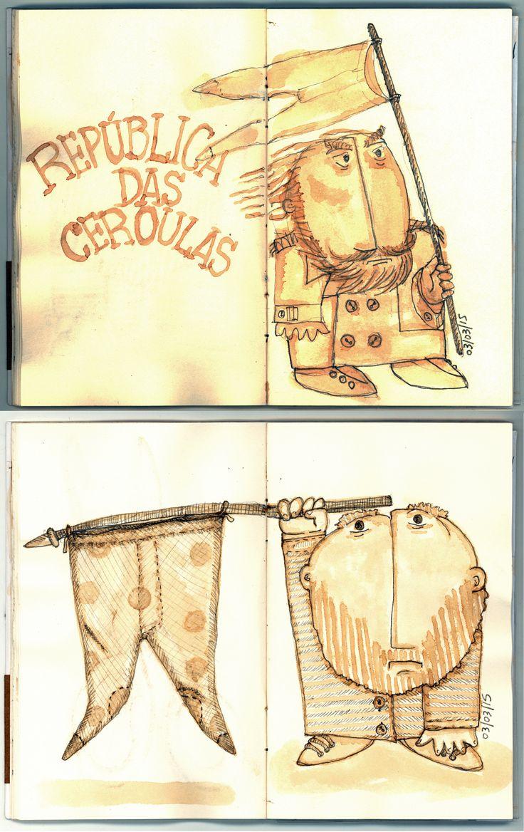 """SketchBook  - Quadradinhos - """"República das Ceroulas"""" (café e grafite)."""