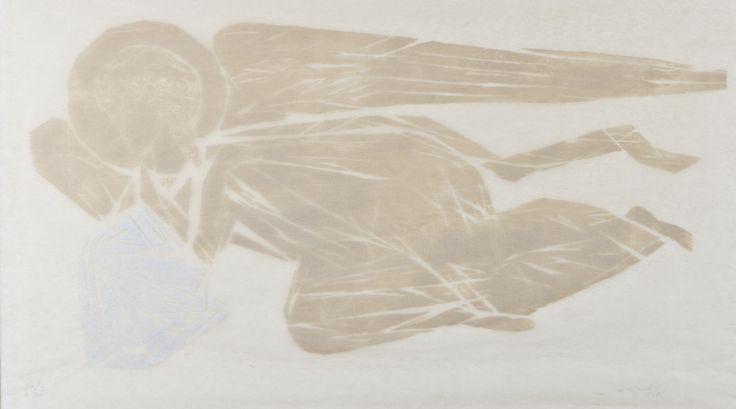 Ina Colliander: Enkeli, 1962, puupiirros, 40x70 cm, I.II 10 tpl'a III 3/10 - Hagelstam A136