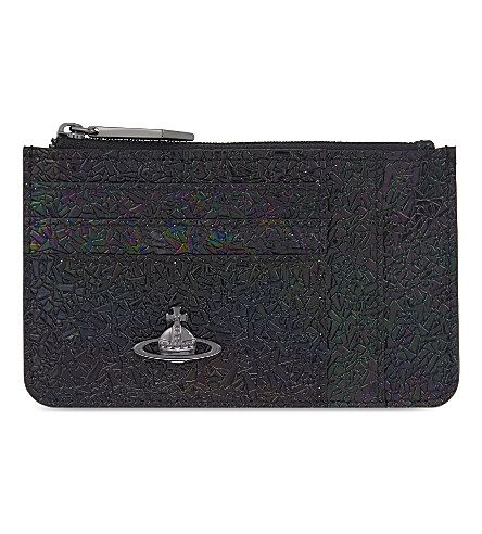 VIVIENNE WESTWOOD Space Iridescent Leather Card Purse. #viviennewestwood #bags #leather #wallet #accessories #lace #