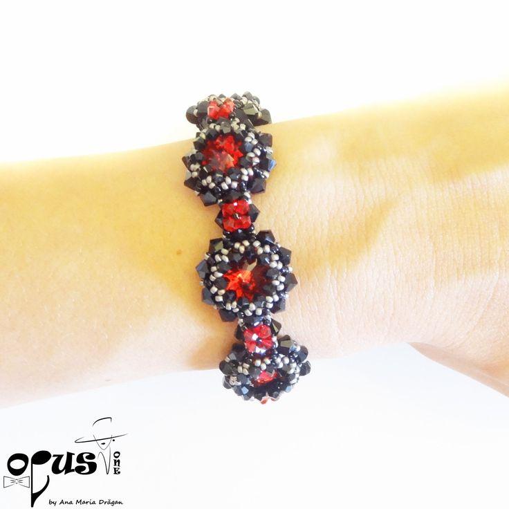 Bratara Red Black Emotion - Opus One - Accesorii, Bijuterii, Papioane Handmade