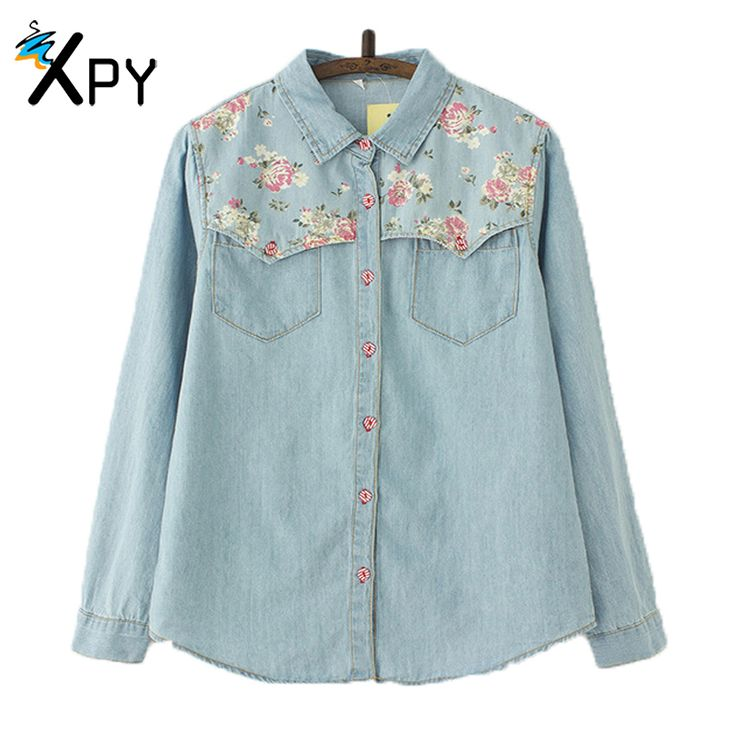[XPY]Summer Women Denim Shirt Jean's Womens Floral Jeans Blouse Long Sleeve Plus Size Blouse Casual Camisa Tops