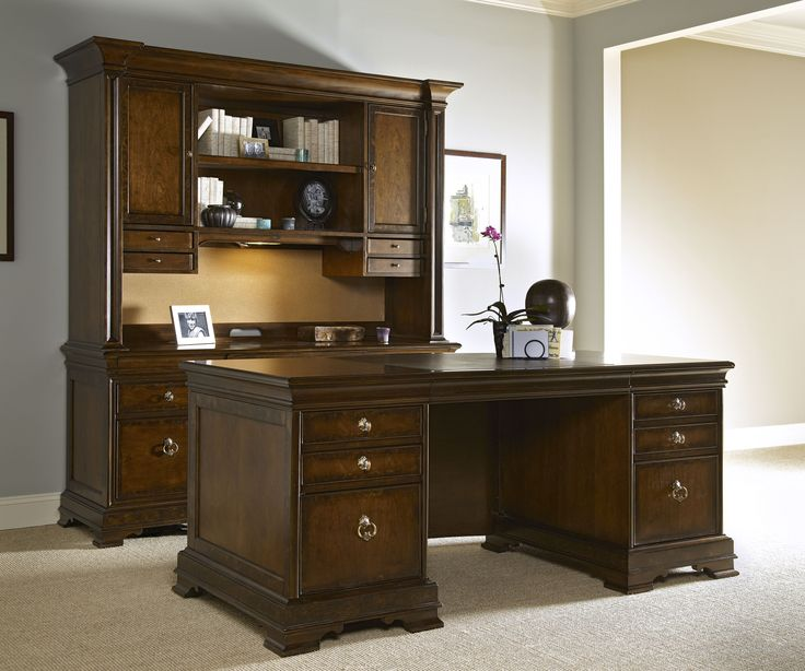 Vue Nouvelle Collection  Executive Desk, Credenza Hutch, Office Credenza,  And Side Chair