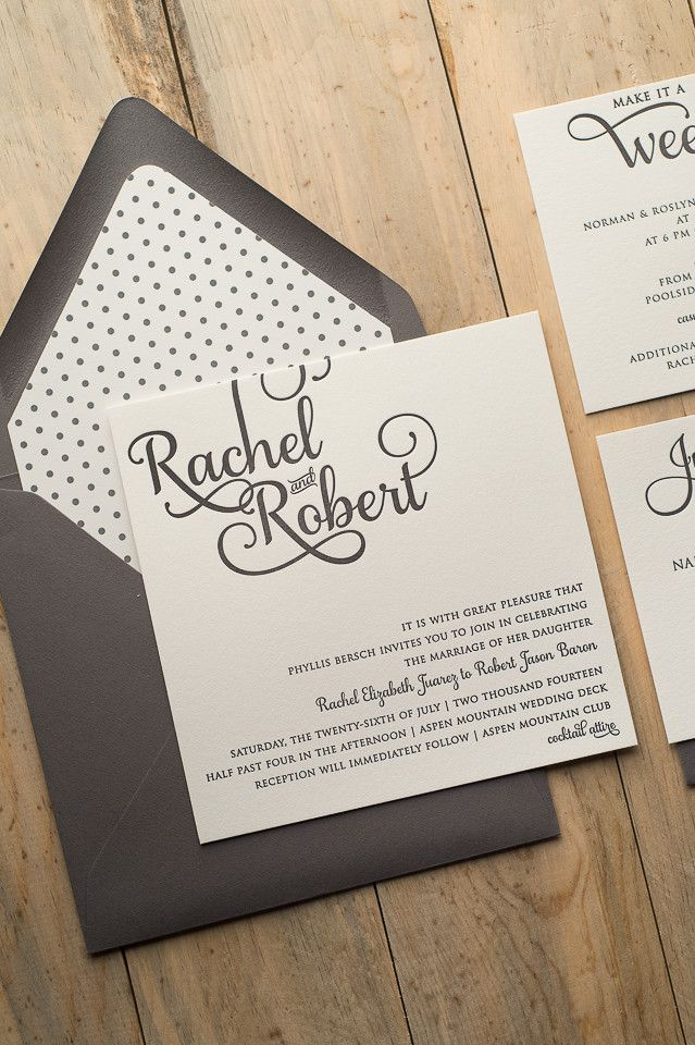 ADELE Suite Cutie Package, adorable square wedding invitation in grey and white polka dots!! Letterpress wedding invitations that are ON SALE FOR BLACK FRIDAY.
