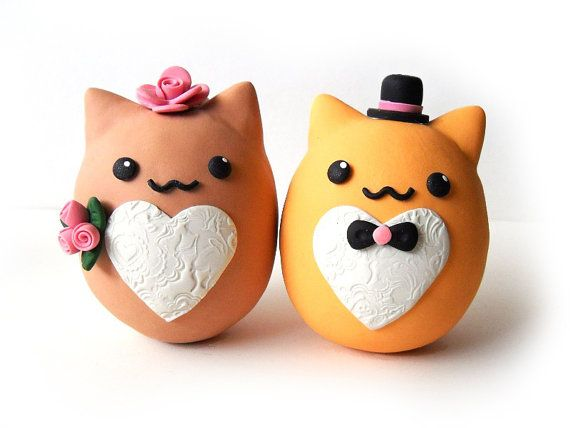 Polymer Clay Cute Oval Animal Wedding Cake Topper - Brown and Orange Cats