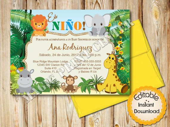 28 best spanish baby shower invitations images on pinterest spanish baby shower invitation boy safari jungle animals instant download editable in adobe reader diy printable 5x7 filmwisefo Images