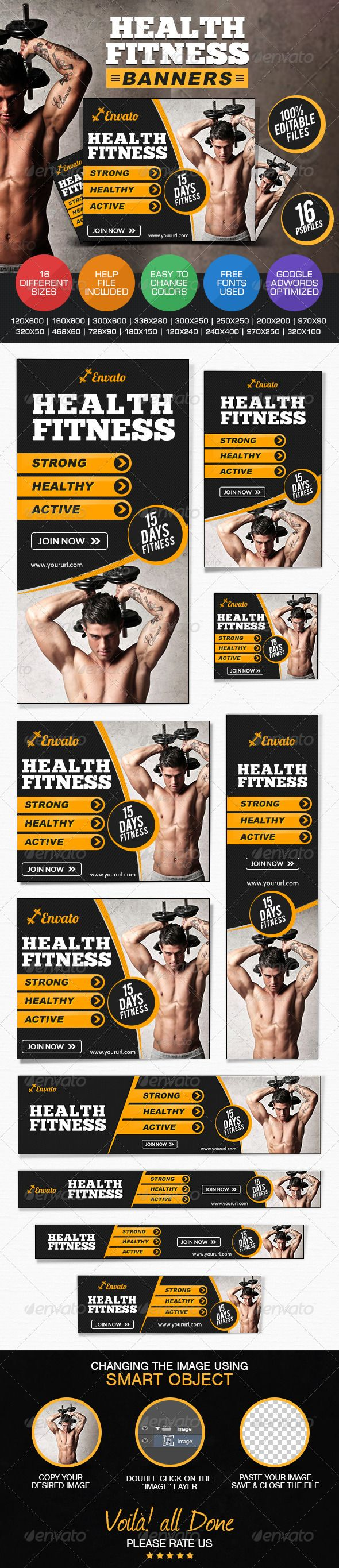 Health & Fitness Banners - Banners & Ads Web Template PSD. Download here: http://graphicriver.net/item/health-fitness-banners/7688647?s_rank=37&ref=yinkira