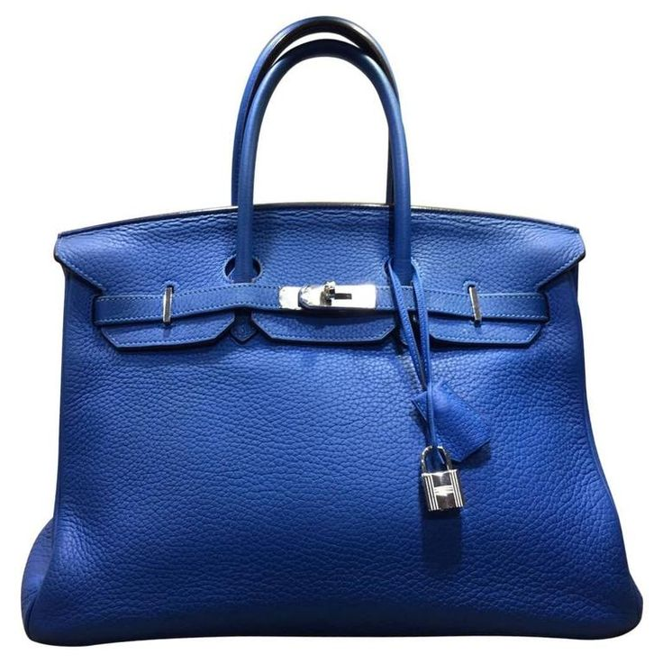 Hermes Cobalt Blue Togo Leather 35cm Birkin Bag  | From a collection of rare vintage top handle bags at https://www.1stdibs.com/fashion/handbags-purses-bags/top-handle-bags/
