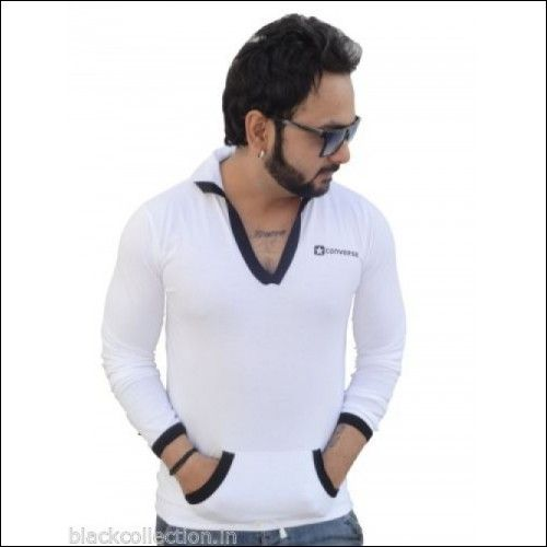T-Shirt -  Stylish Hooded Men's Full Sleeves Black/White