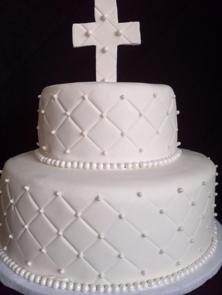 Silver And White Christening Cakes