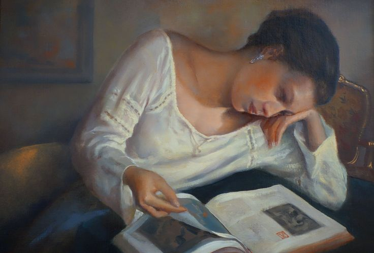The Girl Who Loved Books painting by Ken Hamilton