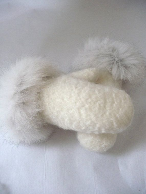 (from BraveTheLabel, Britain, on Etsy) Fox Fur Mittens -White mohair and wool mix Mittens with a generous trim of natural blue fox