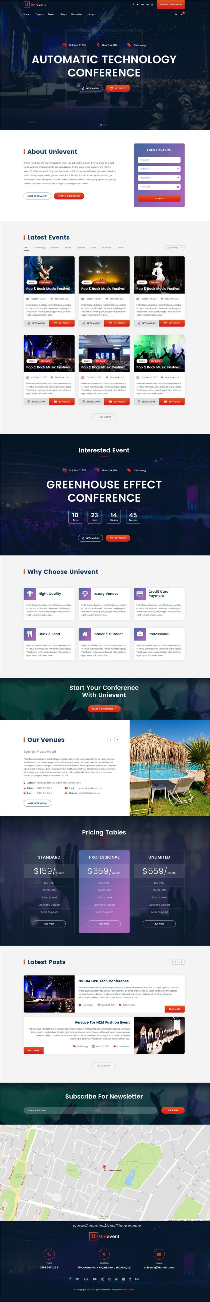 UniEvent is clean and modern design 5in1 PSD template for stunning #event and #conference website with 5 homepage layouts and 33 layered PSD pages  click on the image to download.