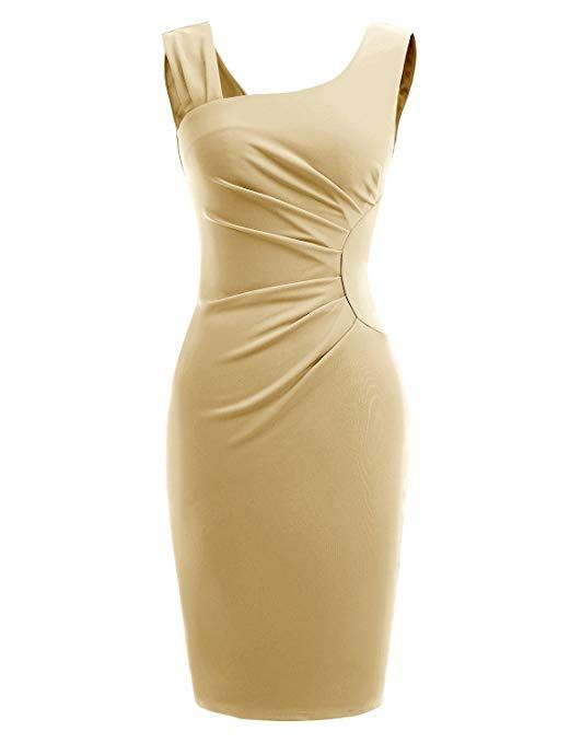 0fbe44e41d77 Gardenwed Women s Retro 1950s Style Sleeveless Slim Business Pencil Dress  Wear to Work Cocktail Office Dress Apricot Size L. Apricot