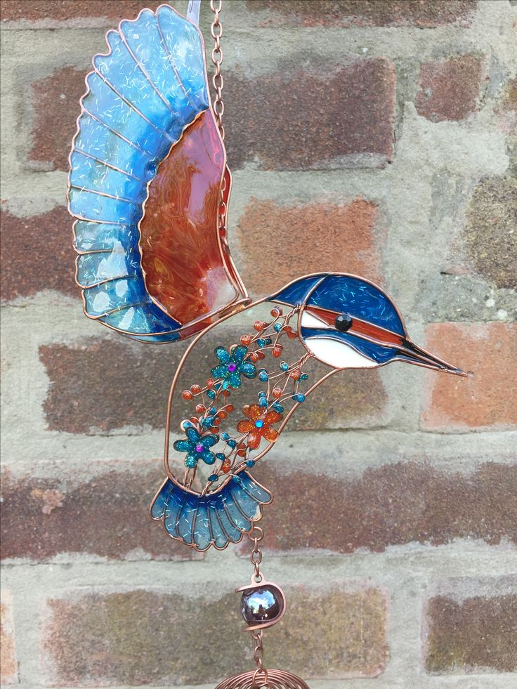 Colourful Kingfisher Windchim With Colourful Hanging Glass Gems