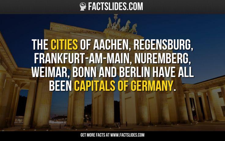 The cities of Aachen, Regensburg, Frankfurt-am-Main, Nuremberg, Weimar, Bonn and Berlin have all been #capitals of Germany. #Hauptstädte