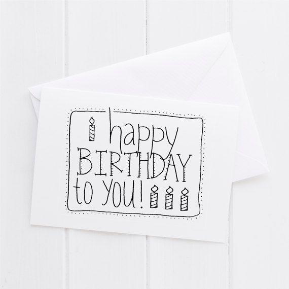 Items op Etsy die op Gelukkige verjaardag aan u Happy Birthday Hand geletterden Card, afdrukken, typografie geschenk, vakantie heden, kaart, zuster van de moeder vriend papa broer lijken