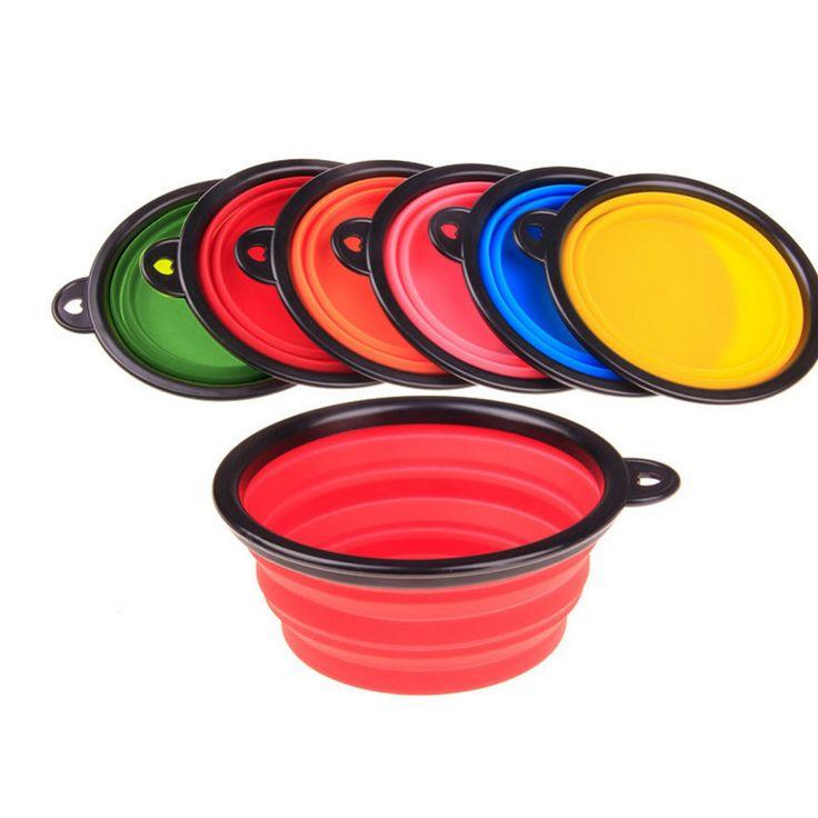Nueva Plegable Plegable de silicona dow bowl caramelo color al aire libre de viaje portátil cachorro doogie feeder plato contenedor de alimentos en venta