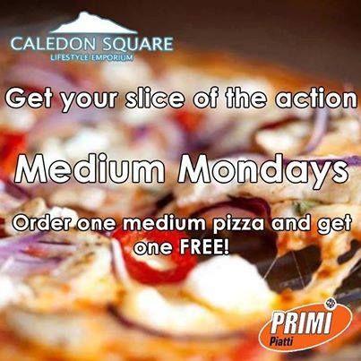Get your slice of the action from Primi Piatti George at Caledon Square. It's Medium Monday - Order one medium pizza and get one FREE! #primipiatti #caledonsquare