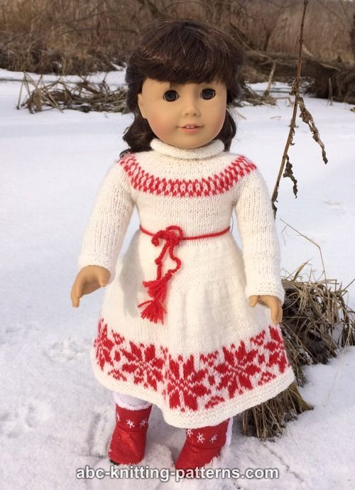 American Girl Doll Nordic Winter Dress - http://www.abc-knitting-patterns.com/1453.html