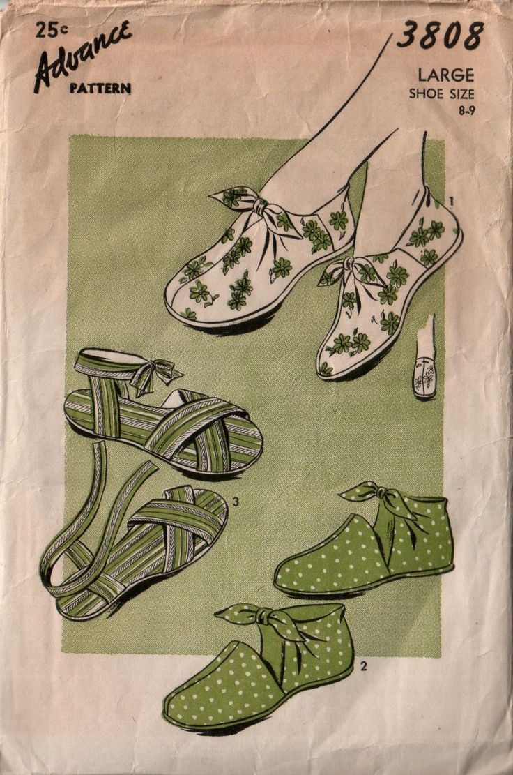 Advance 3808 circa 1944 bootie, saddle bootie, & strapped sandal (shoe pattern)