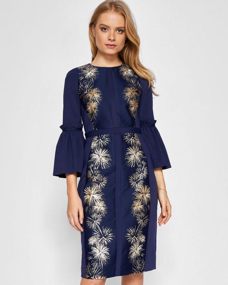 Stardust flute sleeve midi dress - Dark Blue   Dresses   Ted Baker