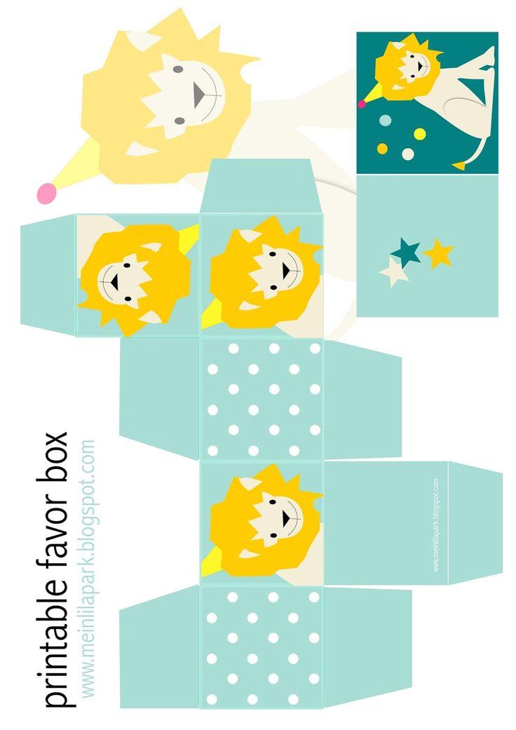 Free printable favor box and children art lion tag - ausdruckbare DIY Box…