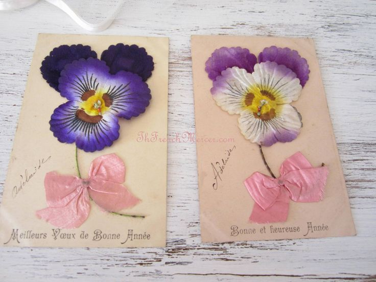 French Postcards - Silk Ribbon and Pansies c1905-1910 TheFrenchMercer.com