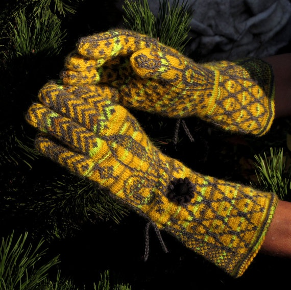 Norwegian Fair Isle Gloves  The Sun is Laughing by Dom by domklary, $45.00