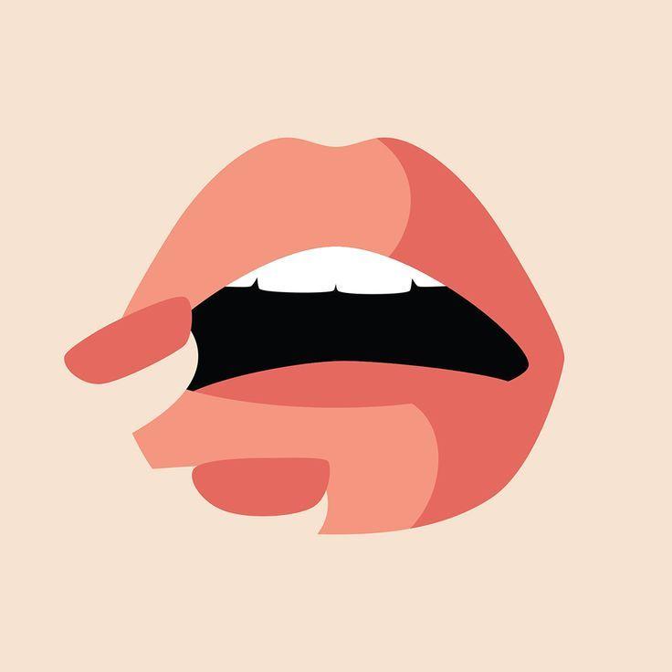 Those lips – minimalist vector art – negative space
