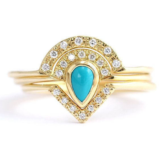 Turquoise Bridal Ring Set Bohemian Wedding Set By Artemer On Etsy