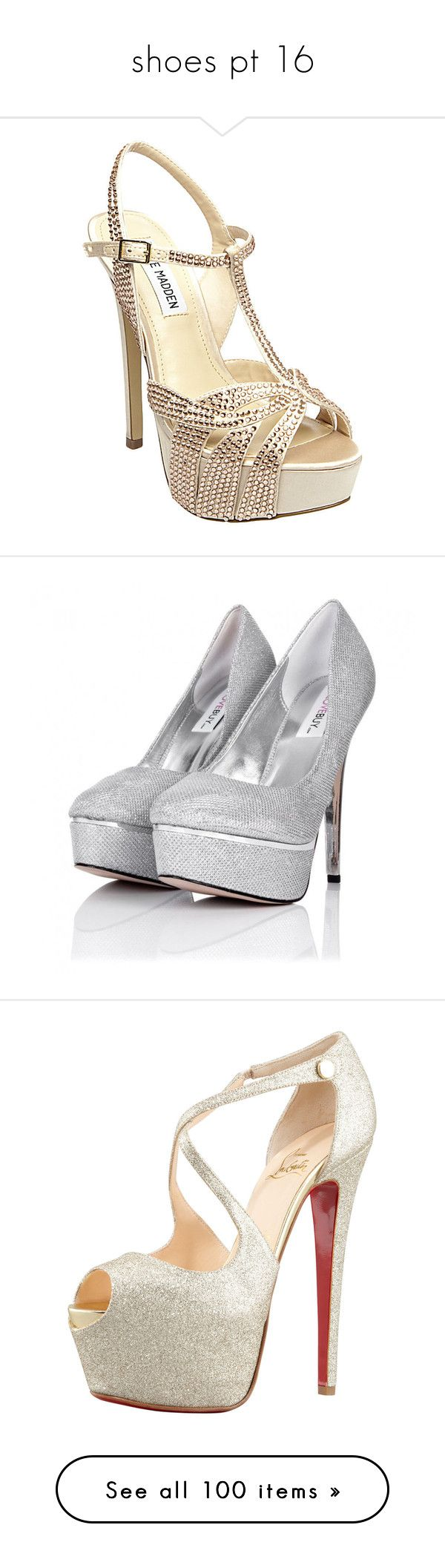 """""""shoes pt 16"""" by looking-fly ❤ liked on Polyvore featuring shoes, sandals, heels, high heels, blush multi, platform sandals, silver high heel sandals, heeled sandals, strappy high heel sandals and peep toe sandals"""